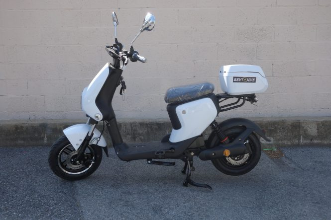 White Easy Rider Electric Scooter by Revolve Electric Bikes